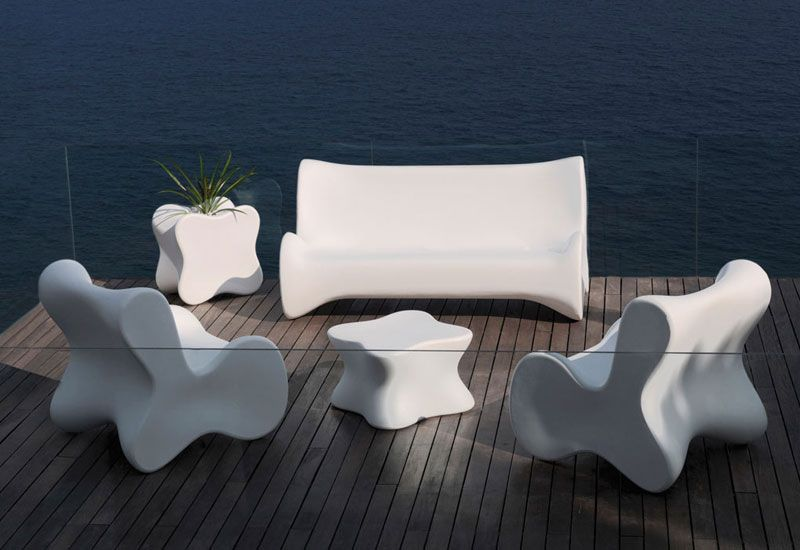 Mobilier de jardin design luxe for Salon de jardin blanc carrefour